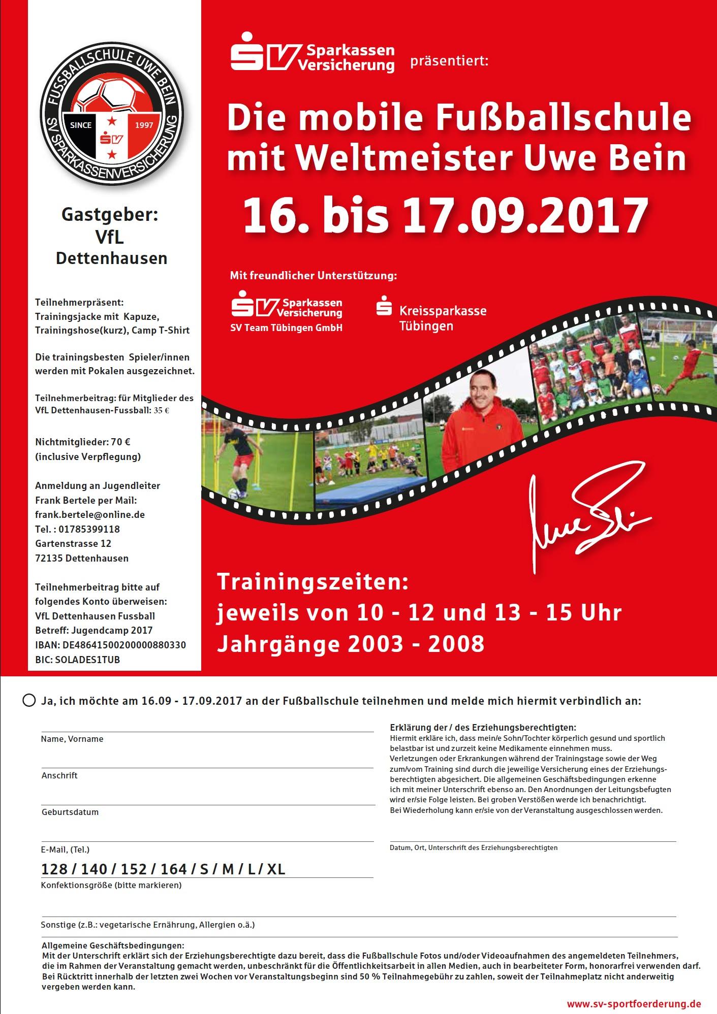 Jugendcamp Abt. Fussball @ Sportplatz Dettenhausen